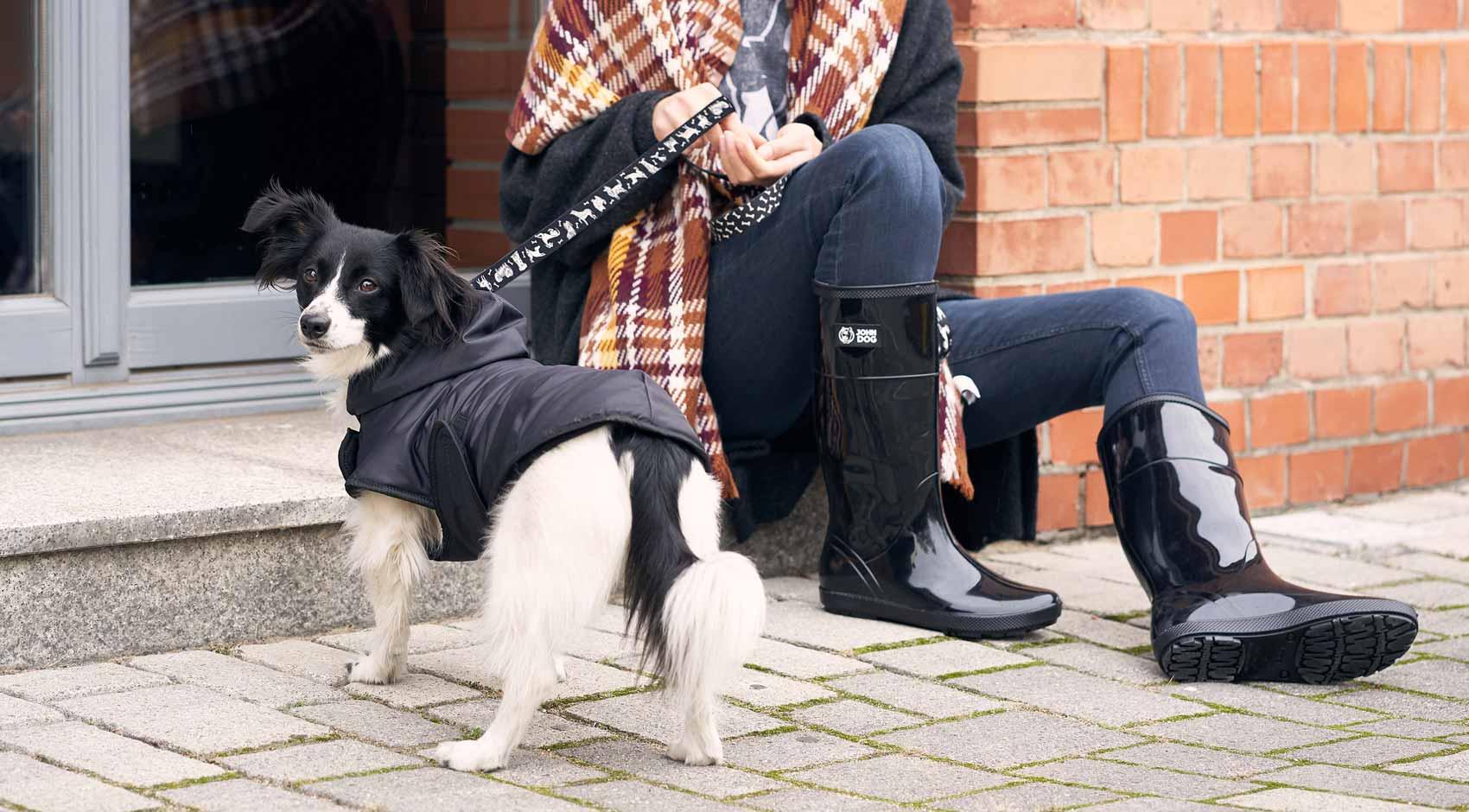 Ocieplana przeciwdeszczowa kurtka z kapturem dla psa John Dog Black